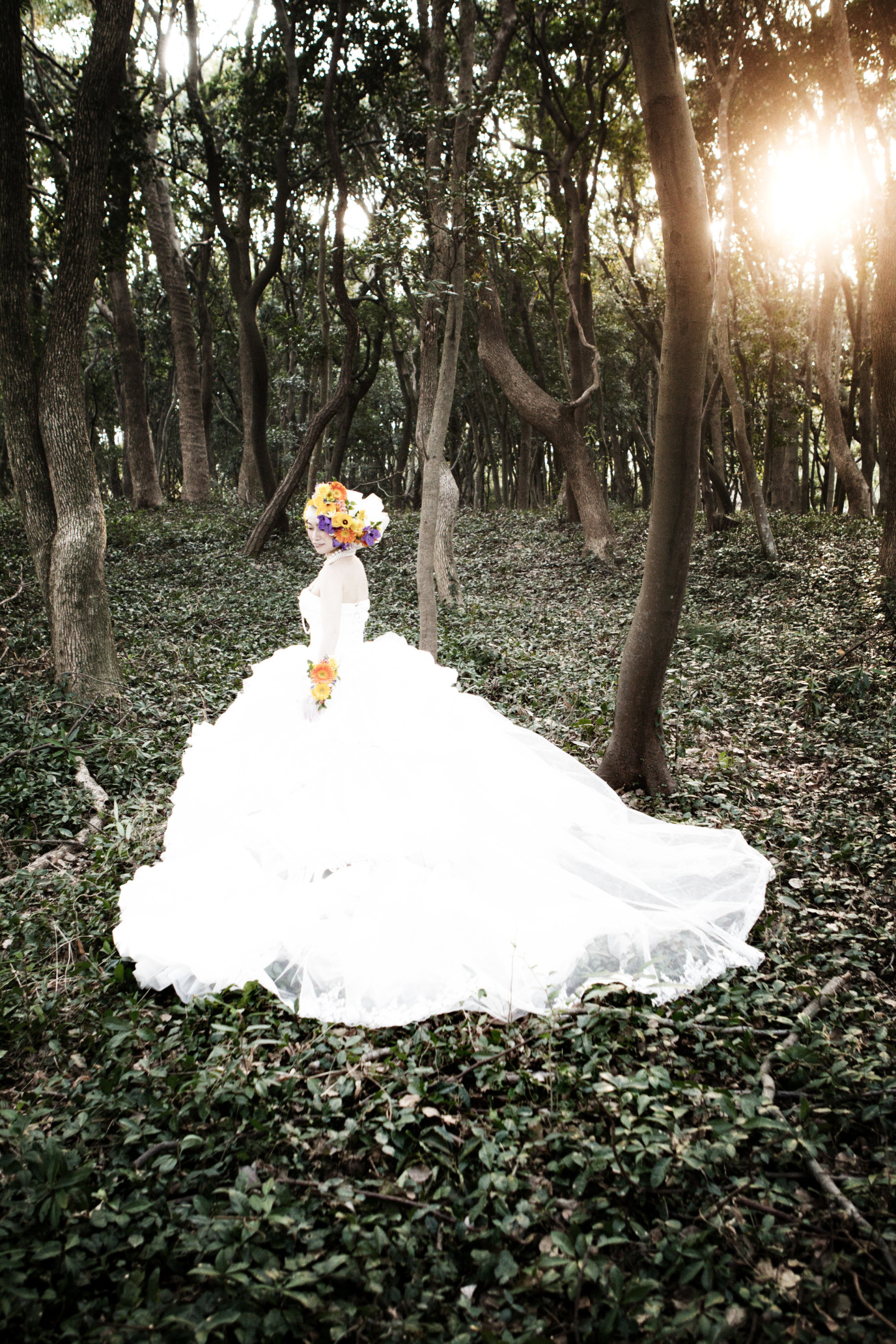 A bride in the forest