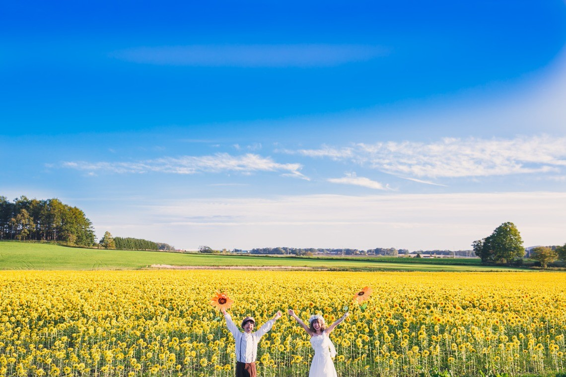 Couple pose in front of large patch of sunflowers