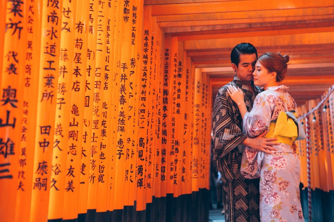 A couple in kimono, surrounded by torii