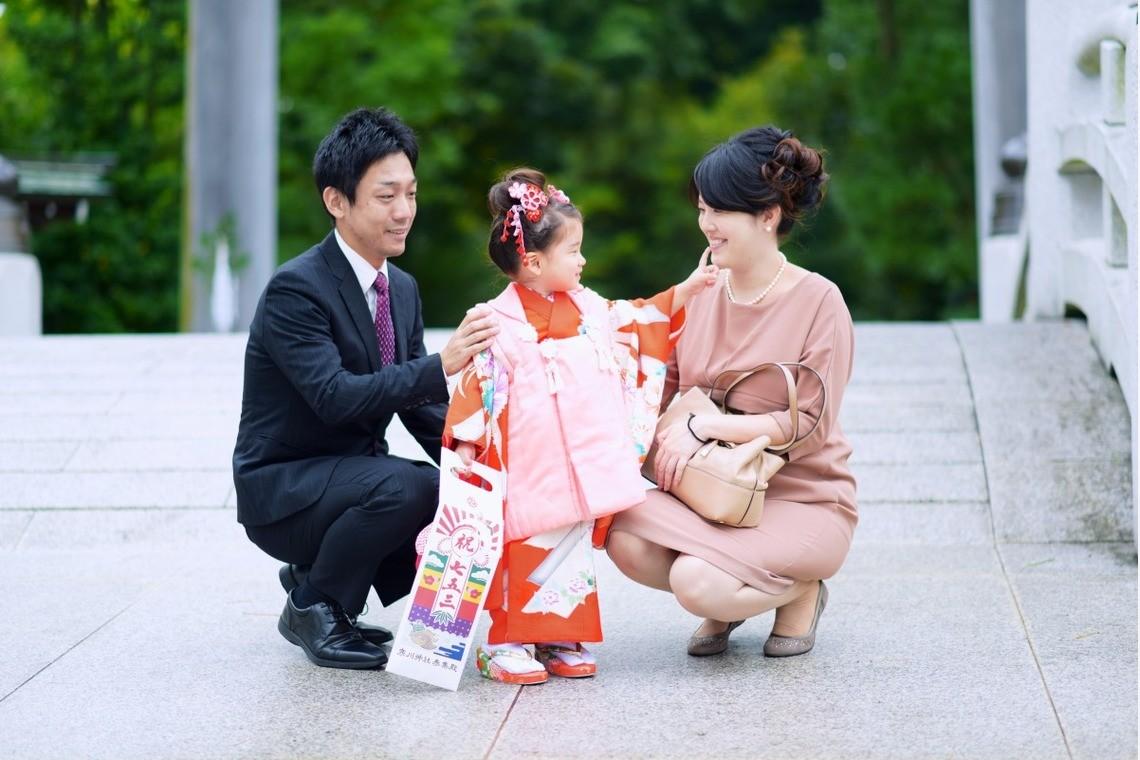 おしゃれな七五三写真の両親の服装(エミリィの出張撮影)