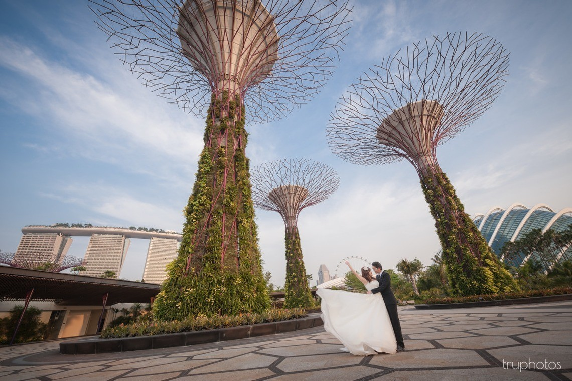 Gardens at the bay photoshoot with couple in wedding attire. Photo by Truphotos.