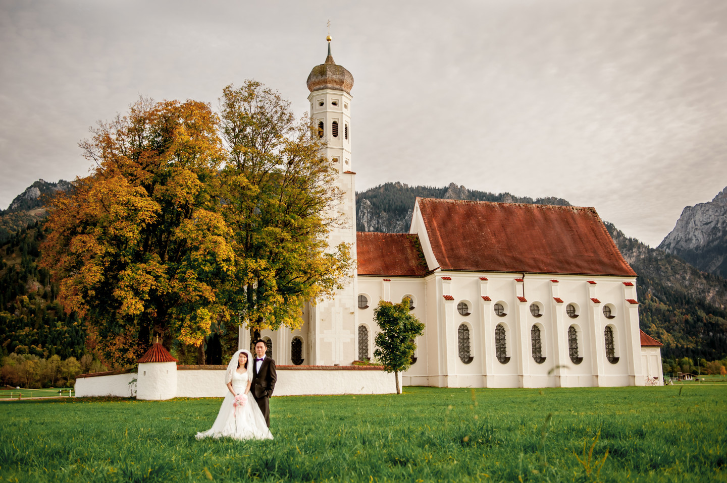 Prewedding Couple with a Chapel in Bavaria