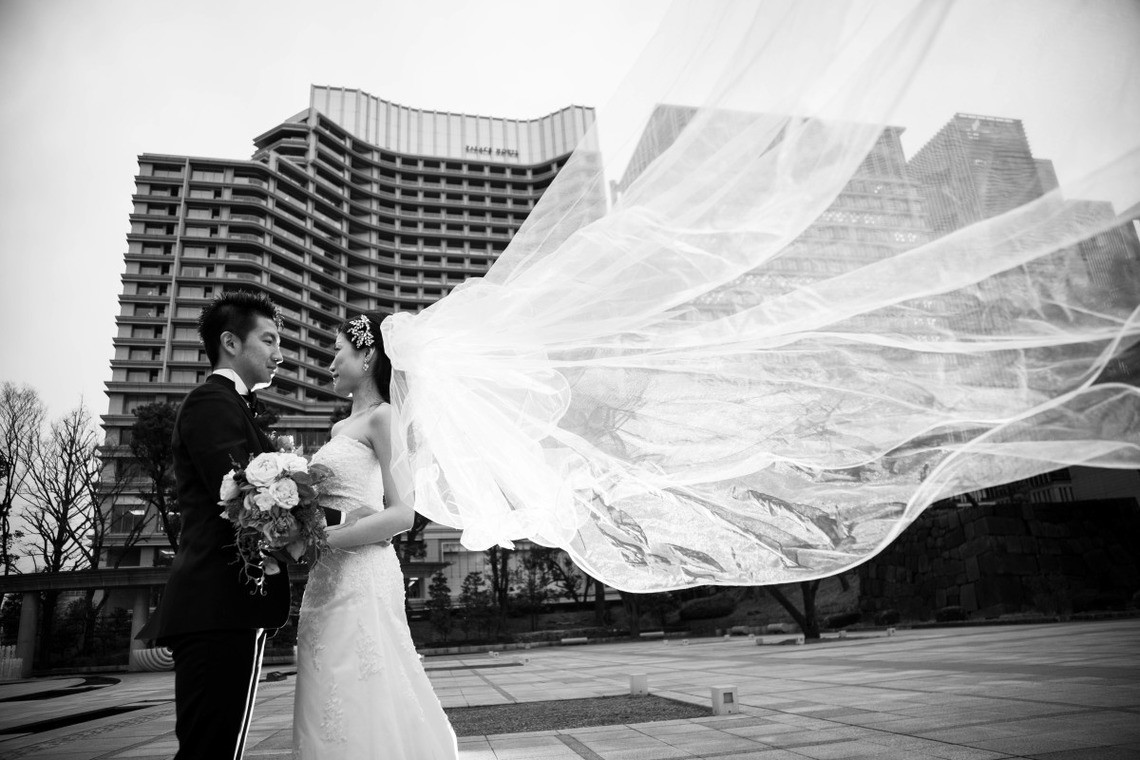 Dramatic Wedding Dress Shot — Photo by Takano Kazuki