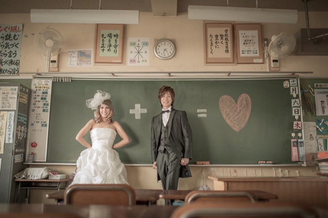 Clever use of chalkboard and the school they grew up in. Photo by Hayashi Photo Works