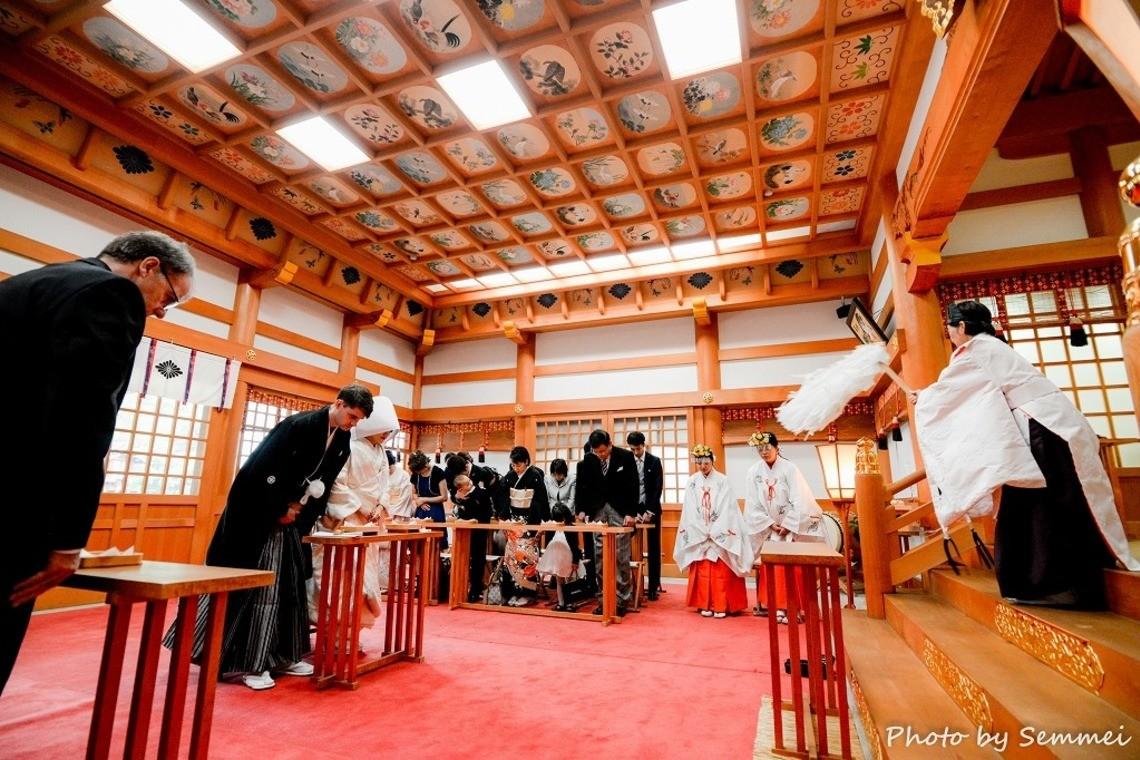 Couple during a traditional Shinto Wedding ceremony