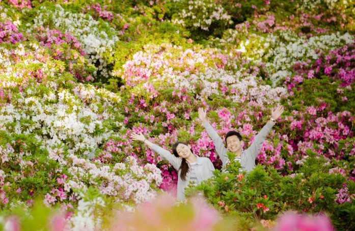 Couple in matching casual clothing in a field of pink and white flowers. Taken by mutenkashashindou.