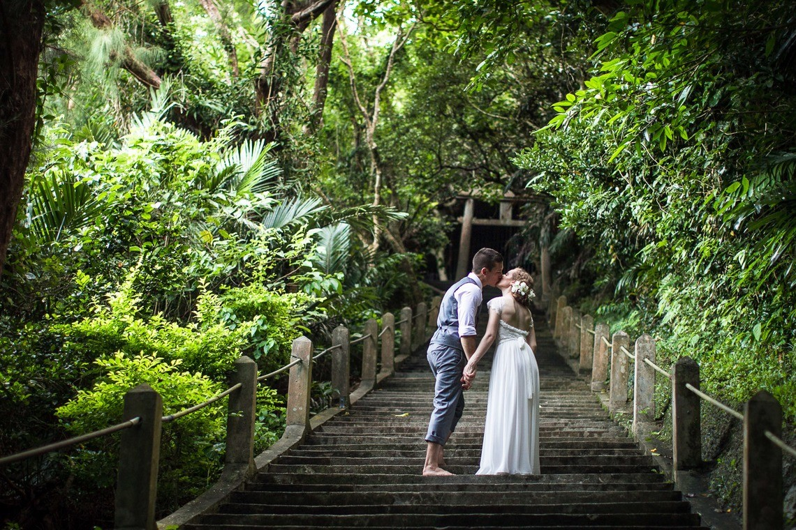 A couple at a jungle in Okinawa